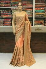 Silk Embroidered Kundan Work Bollywood Saree Indian Sari Bridal Party Wear Dress