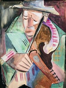 MCM Vtg HELEN MALTA Abstract Cubism Man Violin Harlem, NY PA aft Braque Picasso