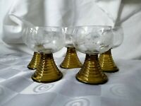Roemer Germany Hollow Olive Green Beehive Stem Cut Grapes Cordial Liquor Glasses