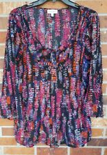 FASHION BUG Sz XL Peasant Pleated Blouse Tunic Top Long Sleeve 1/4 Button Down