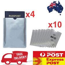 4x Passport & 10x RFID Blocking ID Credit Card Protector Sleeve Shield Holder AU