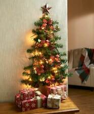 Fully Decorated Red Plaid Bows Lighted Space Saving Christmas Wall Tree
