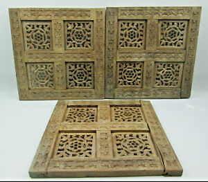 "3 Distressed and Damaged Rustic Hand Carved Wood Window Panel Screens 12"" x 12"""