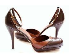 Max Studio Brown Ankle Strap High Heels Stilettos Pumps Sz 8.5 Genuine Leather