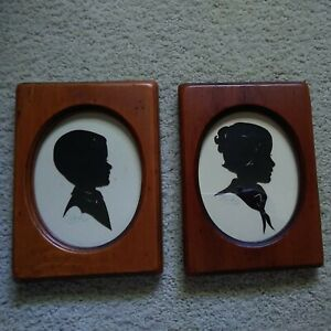 2 Vintage Silhouettes young child boy and girl 1960's black/white 5x7 Wood frame