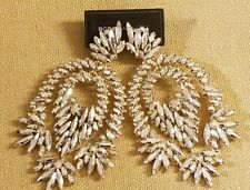 BCBG MAXAZRIA FLORAL NICKEL GLASS STONE CHANDELIER EARRINGS