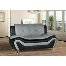 Kingway Furniture Gilan Faux Leather Living Room Loveseat - Black/Grey