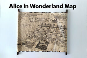 Alice in Wonderland Map, Map of The Looking Glass Lands, Underland Map HANDMADE