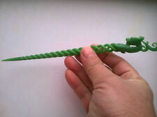 EXQUISITE CHINESE OLD HAND CARVING NATURAL GREEN JADE PHOENIX HAIRPIN