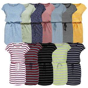 ONLY Damen Sweatkleid Kleid Dress gestreift kurz Freizeitkleid Shirtkleid onlMAY