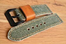 handmade 24mm vintage ammo canvas watch strap with screw-in buckle fits Panerai
