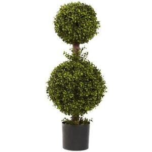Artificial 35 in. Double Boxwood Topiary Plant w/ Black Plastic Container Pot