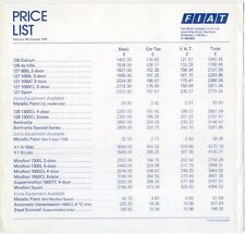 Original UK  Price  List  Fiat 1978 126 127 128 X1-9 Mirafiori 132 900T