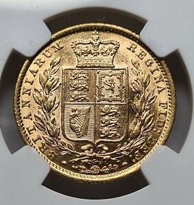 AUSTRALIA Queen Victoria Gold Shield Sovereign 1884 -S NGC AU 58 UNC Sydney