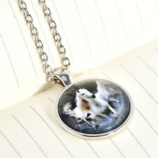 Fashion White Horse Cabochon Glass Pendant Chain Necklace Gift Vintage Silver