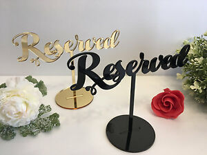 Reserved sign Reception Wedding Table Seating Signs Freestanding Gold Black Wood