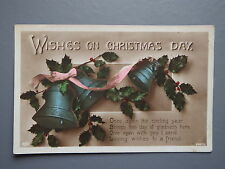 R&L Postcard: Christmas Day, Bells & Holly Design, 1917, Sussex Photographic Co
