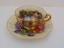 Occupied Japan GZL USA Orchard Fruits Demitasse Cup And Saucer With Gold Trim