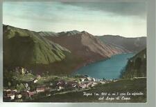 vecchia cartolina primo colore di pigra con lo sfondo del lago di como  1963