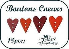 LOT 18 BOUTON COEUR ROUGE BORDEAUX SCRAPBOOKING SCRAP CREATION COUTURE AMOUR
