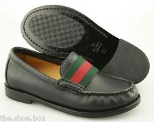 Boy's GUCCI 'Web' Black Leather Loafers Size US 10-10.5 GUCCI 27
