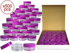 500 Pieces 3Gram/3ml Plastic Round Clear Sample Jar Containers with Purple Lids