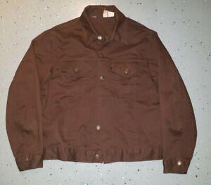 Vintage LEVI'S Brown 50%Polyester 50%Cotton Trucker Jacket Mens size 42