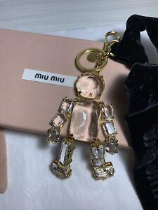 Miu Miu Crystal Gorgeous Key Trick Chain Ring Charm Keychain NEW RRP £450