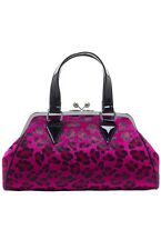 Sourpuss Temptress Pink Faux Leopard Fur Kiss Lock Purse