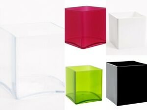 Acrylic Cube vases In Various Colours 15cm x 15cm x 15 Lightweight Container