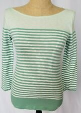 J.Crew Factory Womens Top XS Green White Stripe 3/4 Sleeve Shirt Boat Neck NWT