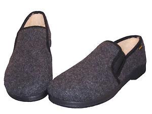 Herren- Hausschuhe Schurwolle warme Füße Gummizug bequeme Hüttenschuhe Puschen