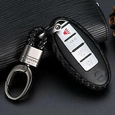 Matte Carbon Fiber Car Key Case Keychain Bag Fob Ring Holder For Nissan Infiniti