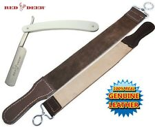 NEW White Handle Folding Shaving Straight Razor & Leather Sharpening Strop