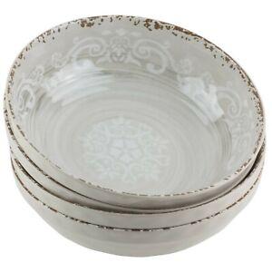Cynthia Rowley Taupe Melamine Bowls Set of 4 Filigree Rustic Swirl Tuscan