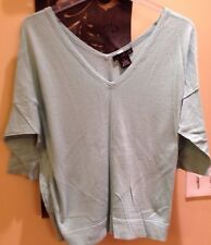 Willi Smith Size L Lt Turquoise 3/4 sleeve V-Neck Sweater