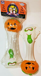 Halloween Pumpkin and Goblin Dumbbell Vinyl DOG TOY 2Pk
