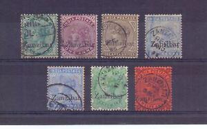 ZANZIBAR 1895 ½a TO 2½a + 12a ( 7 ) SG3-8/16 ( TONED ) FINE USED CAT £48