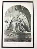 1856 Antique Print Tsar Alexander II Romanov Russian Royal Family Coronation