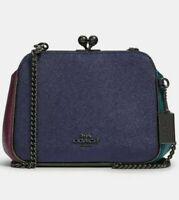 Coach Leather Kisslock Chain Crossbody Bag Metallic Colorblock F80194 Pearl New