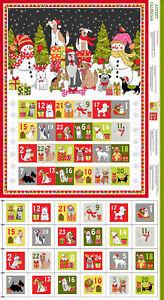 Makower Christmas 100% cotton Yappy Christmas Advent Calendar Fabric Panel