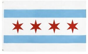 PringCor City of Chicago 3x5FT Polyester Flag Chi IL Windy City 4 Star Illinois