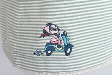 Disney Store XL Shirt Green White Striped SS Embroidered Minnie Mouse on Scooter