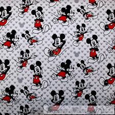 BonEful Fabric FQ Cotton Quilt White Black Red B&W Gray Mickey Mouse S Face Head