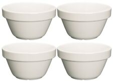 4 x Kitchen Craft Stoneware White Steamed Pudding Mixing Bowl Basin - 0.3L