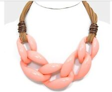 Acrylic Coral Peach Big Curb Link Chain Chunky Statement Plastic Cord Necklace