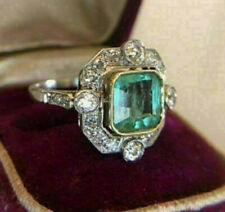 Engagement Ring Vintage Art Deco 2.0Ct Green Asscher Diamond 14K White Gold Over