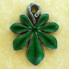 Antique French 800 Silver Enamel Almond Leaf Slider Charm Pendant