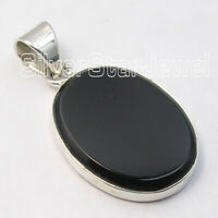 Sterling Silver 15 x 20 mm Cabochon Black Onyx Pendant Women's Jewelry