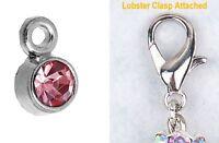 October Birthstone Dangle Charm Rhinestone Crystal CHOOSE Lobster Clasp or Ring